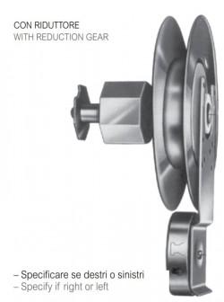 Avvolgitore zincato Mini Omega con riduttore, 7,5 metri di cintino, puleggia da 180 mm