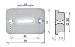 Guidacinghia trasversale rettangolare in nylon bianco