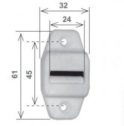 Guidacinghia verticale bianco con spazzolino, in nylon