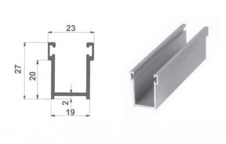 Guide 27x19 in alluminio anodizzato argento, in cui verrà inserito lo spazzolino