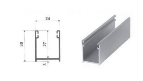 Guida 30x24 in alluminio anodizzato argento, in cui verrà inserito lo spazzolino