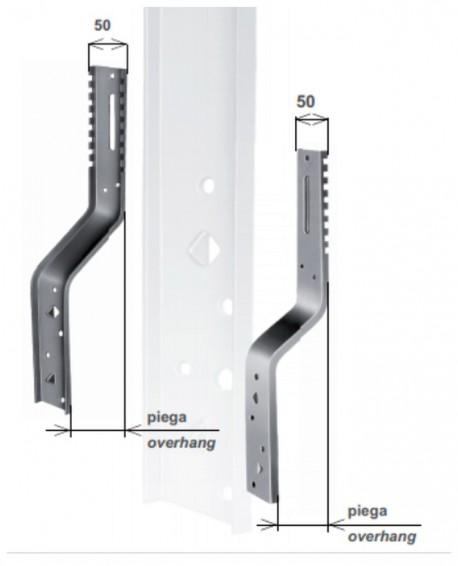 Parte verticale per supporto Torino, piega 25 mm