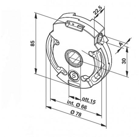 Argano Ergon innesto centrale ottagonale, portata 10 - 24 kg - schema misure