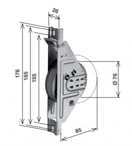 Avvolgitore a semincasso SIGMA R8. 9 m cintino - schema misure