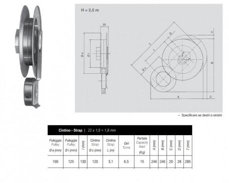 Avolgitore Omega zincato per puleggia da 190 mm di diametro