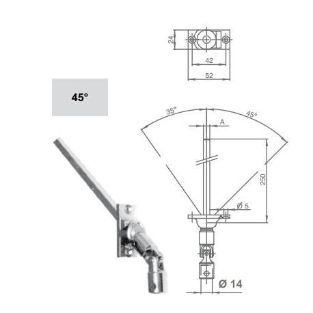 Snodo a 45° con astina quadrata